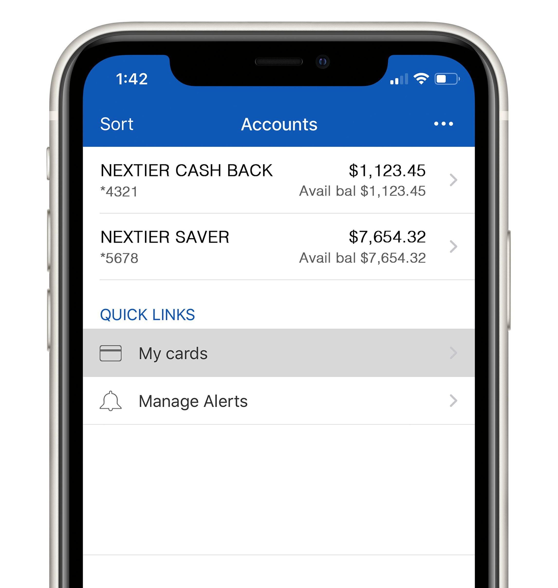NexTier CardBoss My Accounts screen