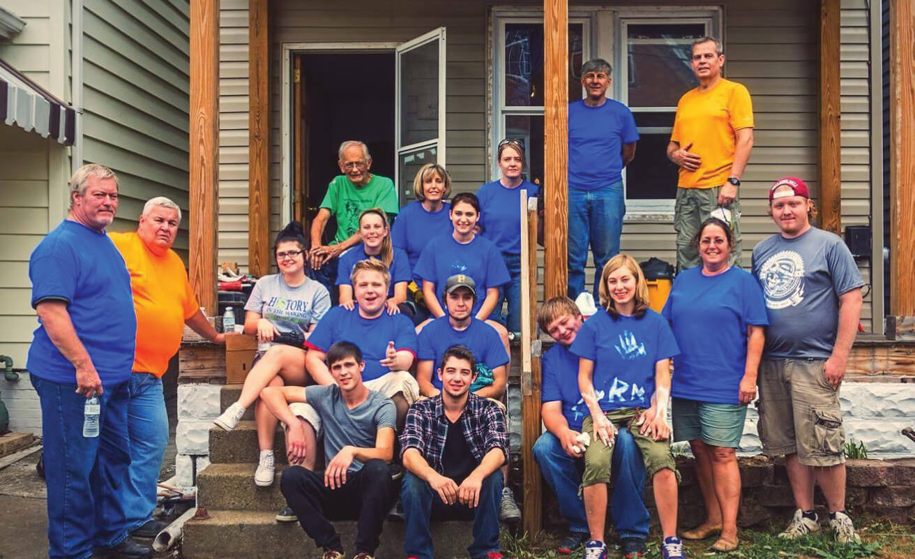 NexTier Bank employees and family members during Habitat For Humanity building project