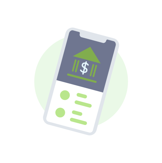 icon of smartphone screen showing banking possibility