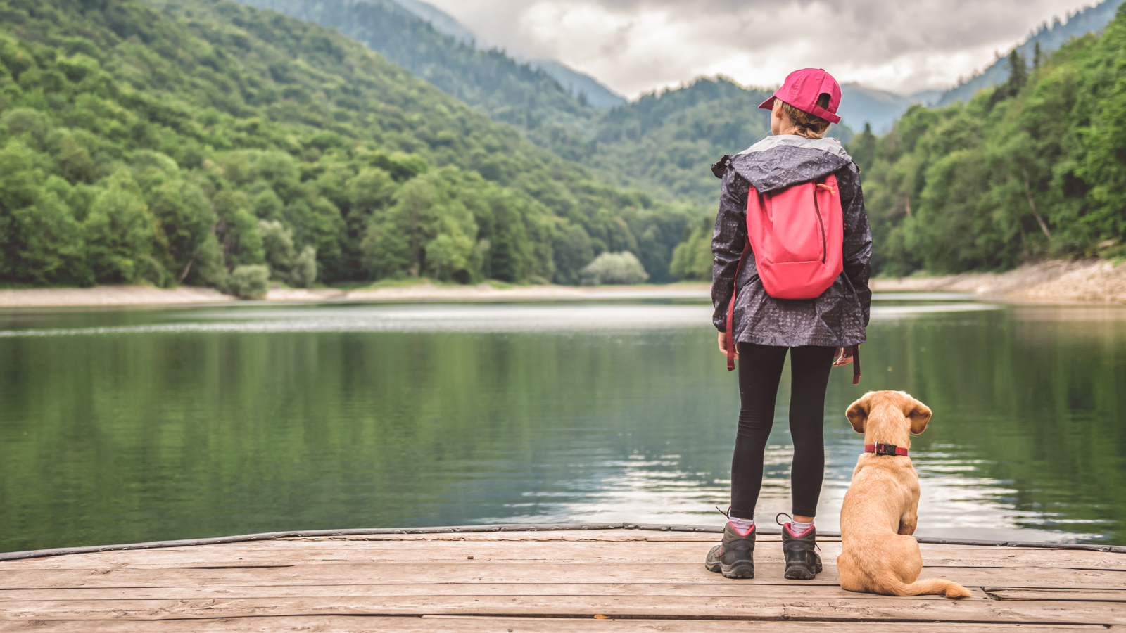 a child and puppy look out over the lake