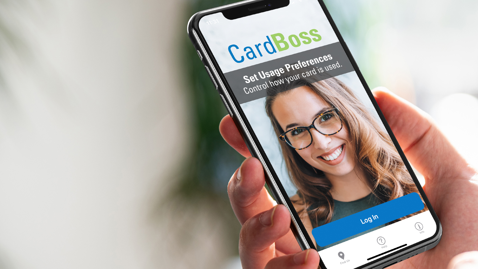 hand holding mobile phone with CardBoss app on the screen