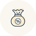 icon of bag of money with % on the bag
