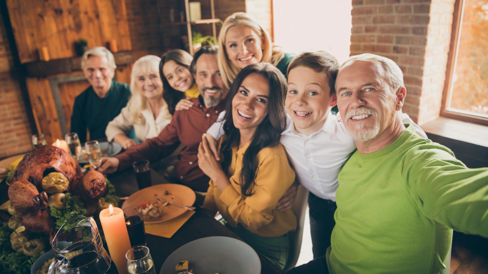 family selfie before holiday dinner
