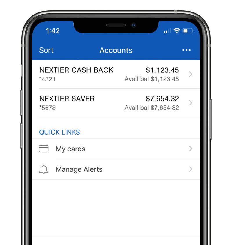 NexTier Mobile App on iPhone screen