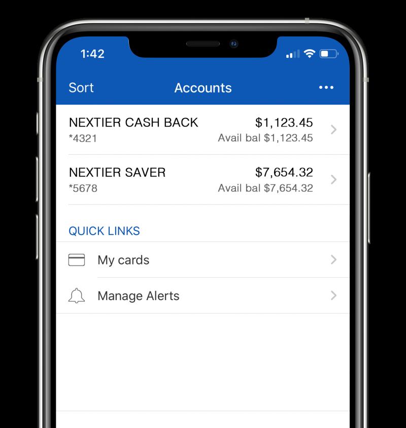 NexTier Mobile App Accounts Screen